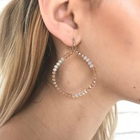 Blossom Beaded Hoop Earrings in Pink