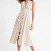 UO Millie Plunging Linen Midi Dress | Urban Outfitters