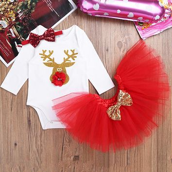 iEFiEL Red Infant Baby Girls My first Christmas outfits Romper Jumpsuit with Tutu Skirt Dress Baby Girls Clothes for Party Wear