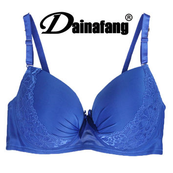 40/90 42/95 44/100 D DD E Large Cup Bras For Women Sexy Push Up Blue soutien gorge marque France bandeau Brand girls underwear