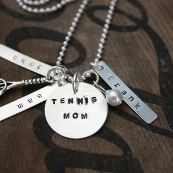 Tennis Mom Sterling Silver Necklace with Custom Name by tagsoup