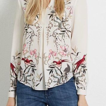 2016 New Brand Women Vintage Ink Painting Flower And Birds Print Blouses Shirts Long Sleeve Pullover Casual Feminine Blusa