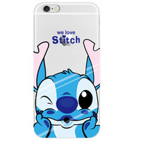 0.3mm Crystal Clear Soft Silicone Transparent We Love Stitch Lilo & Stitch TPU Back Cover Case for iPhone 4 4s 5 5s SE 5C 6 6s 6 Plus 6s Plus