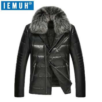 IEMUH Luxury brand Autum Winter Duck Down Jacket Men Leather Jackets Coat Male Thick Feather Warm Fox Fur Collar Side Zipper