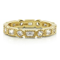 Yellow Gold Vermeil CZ Art Deco Eternity Band Ring 0.9 ct.tw3 Review(s) | Write A ReviewSKU# R262-05