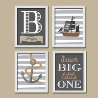 PIRATE Wall Art, Boy PIRATE Nursery Decor, Pirate Theme, Baby Boy Nursery Art, Boy Bedroom Wall Decor, CANVAS or Prints, Set of 4 Decor