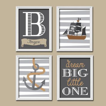 PIRATE Wall Art, Boy PIRATE Nursery Decor, Pirate Theme, Baby Boy Nursery Art, Boy Bedroom Pictures, CANVAS or Prints, Set of 4 Decor