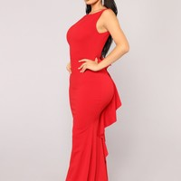 Such A Lady Ruffle Dress - Red