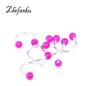 ac PEAPO2Q 1 Pc Glow In Dark Ball Piercing Nose Ring Ball Horseshoe Circular Ring Labret Hoops Luminous Nose Eyebrow Piercing
