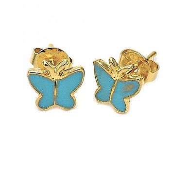 Gold Layered 5.126.069 Stud Earring, Butterfly Design, Turquoise Enamel Finish, Gold Tone