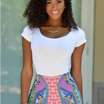 White Top Printed Zippered Shorts Set