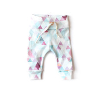 Organic Drawstring Leggings Orchid Watercolor