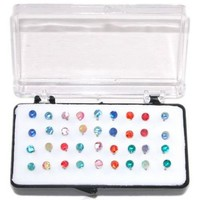 "Set Of 36 1/8"" Crystal Stud Earrings, 18 Pairs, On Nylon (Hypo-Allergenic Plastic) Posts, in Assorted"