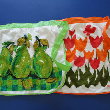Two Vintage Terry Cloth Aprons In Bright Colors 1970s by KimBuilt