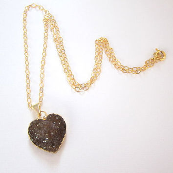 Amethyst Heart Druzy 14K Gold Necklace