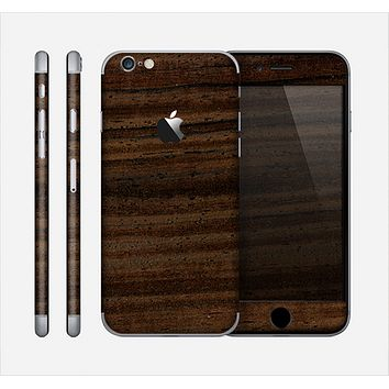The Black Grained Walnut Wood Skin for the Apple iPhone 6