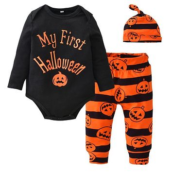 New 2018 Autumn Infant Clothing Baby Boy Girl Clothes Set Long Sleeve Letter My First Halloween Rompers+Pants+Hat Toddler Outfit