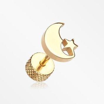 A Pair of Golden Crescent Moon & Star Fake Plug Earring