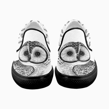 Owl Shoes - Vintage Owl print shoes - black accessories resort wear clothing owl sneakers FREE WORLDWIDE SHIPPING