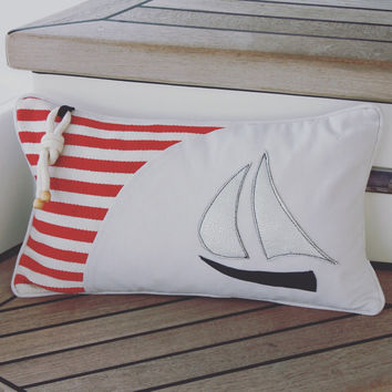 40% off! Nautical pillow Sailboat pillow cover Accent pillow cover Home decor pillow Throw pillow Beach decor Red stripe pillow Rope accent