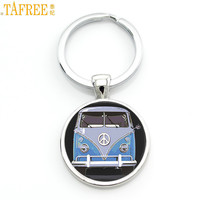 TAFREE new vintage Hippie Peace Sign Van Bus keychain fashion men women purse bag car pendant key chain ring holder jewelry CT89