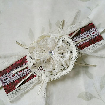 READY TO SHIP Ooak Burgundy Cream Lace Neck Collar Wrist Cuff
