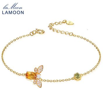 URING- Bee 5X7mm 100% Natural Oval Citrine 925 Sterling Silver Jewelry Chain Charm Bracelet S925 LMHI002