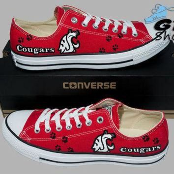 DCCKHD9 Hand Painted Converse Low. WSU Cougars. Football. Washington State University. Handpai