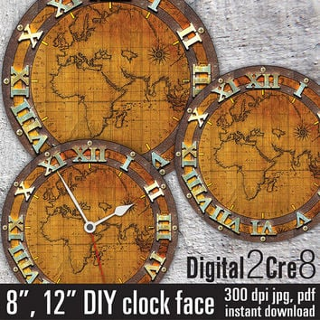 Best downloadable world map products on wanelo world map antique large clock face 12 and 8 digital download gumiabroncs Choice Image