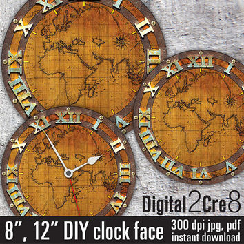 Best downloadable world map products on wanelo world map antique large clock face 12 and 8 digital download gumiabroncs