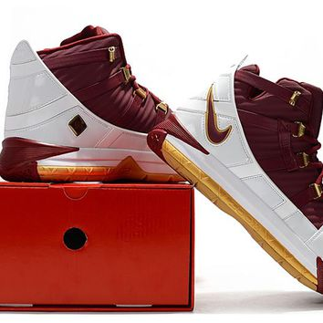 Nike Lebron 3 LBJ3 Wine Red/Gold/White