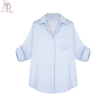 Women Sky Blue and White Striped Long Sleeve Shirt 2016 Spring Autumn New Arrival Trun Down Collar Casual Office Lady Blouse