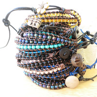 W2 WrapLet Black with Blue Leather beaded wrap by StarBurstJewels