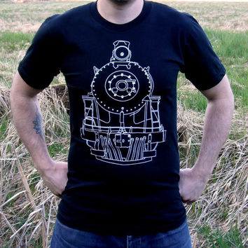 Clothing // TRAIN TSHIRT // Men's Train Tshirt Black American Apparel / Royal Hudson Locomotive