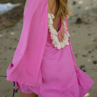 Rose Off Shoulder Tasseled Back Long Sleeve Dress