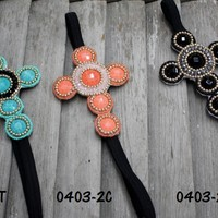 Cross Beaded Headbands in Three Color Options