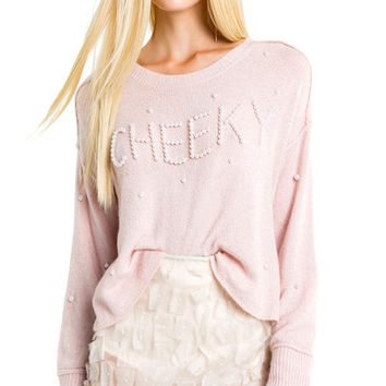 Cheeky Cherie Sweater - Ice Lavender Crew Neck Pullover - wildfox