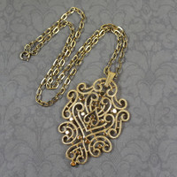 Vintage Trifari Large Gold Tone Textured Filigree Pendant with Chain Necklace