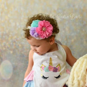 Girls Chiffon Flower Lace Headband, Girls Birthday Headband, Pastel Rainbow Headband, Girls Accessories, Headbands, Layered Headband
