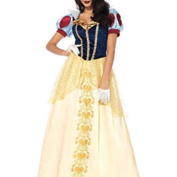 ESBI7E 2PC.Deluxe Snow White,ball gown and matching hair bow in MULTICOLOR