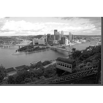 Pittsburgh Skyline poster Metal Sign Wall Art 8in x 12in Black and White