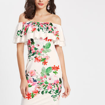 White Off Shoulder Layered Ruffle Floral Print Bodycon Dress