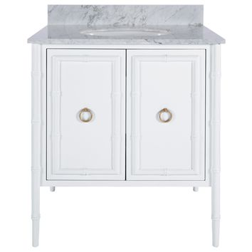 Worlds Away Jane White & Gold Vanity