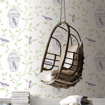 White & Violet Bird Cage Wallpaper