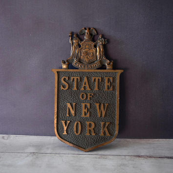 New York Antiques/ New York Architecture/ New York Plaque/ NYC / New York City Collectible/ Brass Wall Hanging/ Excelsior/ Art Deco
