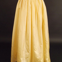 1980s Yellow China Silk Evening Skirt, Waist-26