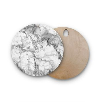 "Chelsea Victoria ""White Marble"" White Black Modern Pattern Photography Round Wooden Cutting Board"