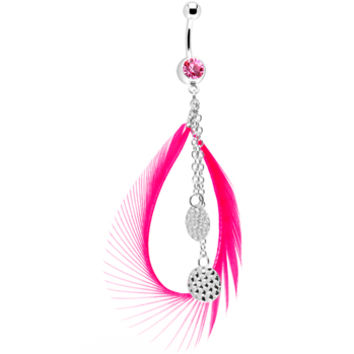 Pink Gem Mod Circle Feather Drop Belly Ring | Body Candy Body Jewelry