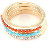 Pave Stone Three Ring Set - Turquoise/Coral