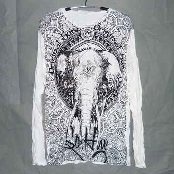 Tusk elephant tee white color Size M/L one size om wrinkle shirt/ baptism buddha clothes animal screen printed